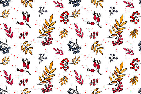 Vector seamless pattern with branches of blueberries and rowan on white background. Hand drawn repeated background for textile, wrapping paper, greeting card and invitation of seasonal fall holidays.