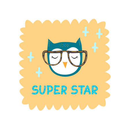 Owl bird Super star with glasses vector illustration in flat style. Design for children, print on fabric and t-shirt, greeting card, poster.