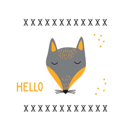 Cartoon animal portrait with sleepy fox face. Vector illustration with wild predatory animal. Beautiful design for printing greeting card, poster, t-shirt, baby clothes, fabric.