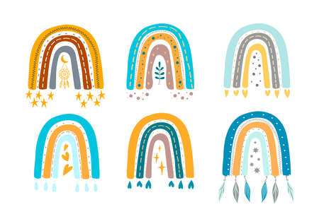 Collection vector adorables rainbows in trendy scandinavian style. Cute simple illustrations rainbow for design childish birthday invitation or baby shower, clothing, nursery wall art and card. 向量圖像