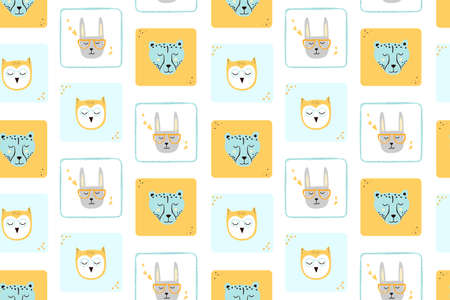 Seamless childish pattern with funny animals faces. Creative scandinavian kids texture for fabric, wrapping, textile, wallpaper, apparel. Vector trendy illustration.