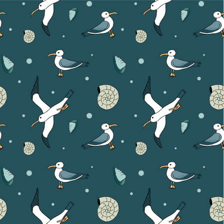 Abstract sea background, beach theme fashion seamless pattern, monochrome exotic vector wallpaper, vintage fabric, blue wrapping with seagull and wave ornaments - summer, maritime theme for design