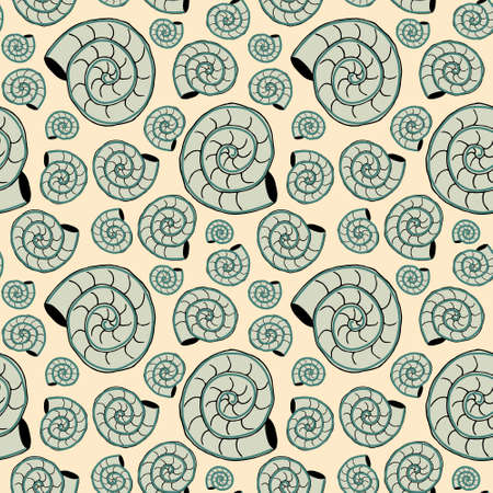Vector seamless pattern with sea shells. Travel trendy summer texture. The design is ideal for printing textiles, labels, wrapping paper and other products. 向量圖像