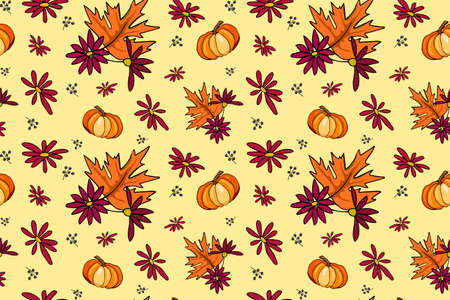 Autumn season vector seamless pattern with hand drawn pumpkin, flowers, leaves. Hand drawn repeated background for textile, wrapping paper, card and invitation of seasonal fall holidays.