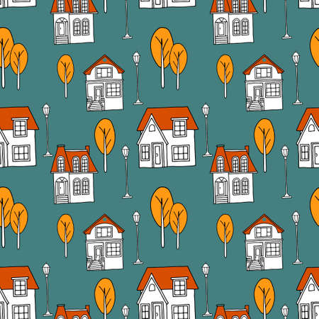 Vector seamless pattern with hand drawn trees and houses on a dark green background. Creative texture for fabric, wrapping, textile, wallpaper, apparel. 向量圖像