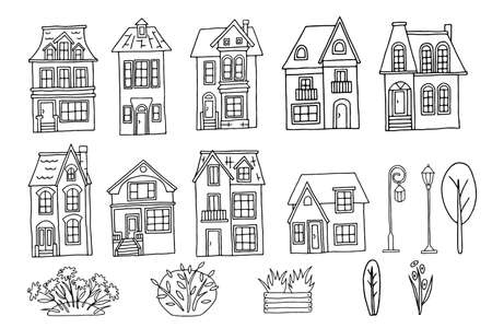 Set of houses with roof window and door. Hand drawn vector illustration on a transparent background. Design for printing postcards, fabrics, leaflets, website design. 向量圖像