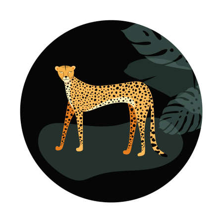 Template design with exotic wild animals. Wild cat cheetah in grunge circle.  Vector illustration. 向量圖像
