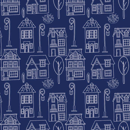 Vector seamless pattern with the image of vintage monochrome houses, street lamps and plants. Design for printing postcards, posters, flyers, wrapping paper. 向量圖像