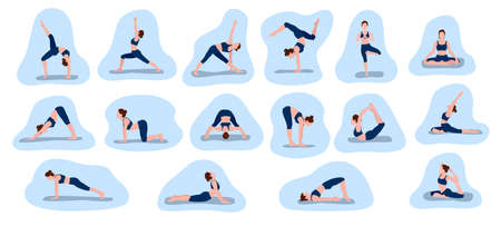 Set of vector illustrations depicting a sporty young woman doing yoga and fitness exercises. Healthy lifestyle concept. A collection of female characters demonstrating various yoga poses against a blue background.