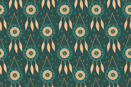 Seamless pattern with magic dream catchers with beads, feathers on a dark background. 向量圖像
