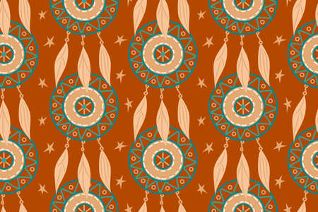 Seamless pattern with magic dream catchers with beads, feathers on a terracotta background. Vector illustration, retro pattern, ethnic doodle collection, tribal design.