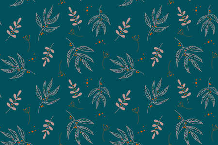 Vector elegant floral seamless pattern in natural farmhouse style with cute simple branches, flowers, leaves.