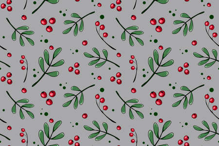 Botanical seamless vector pattern with red berries and green branches mistletoe. Holidays seamless pattern.