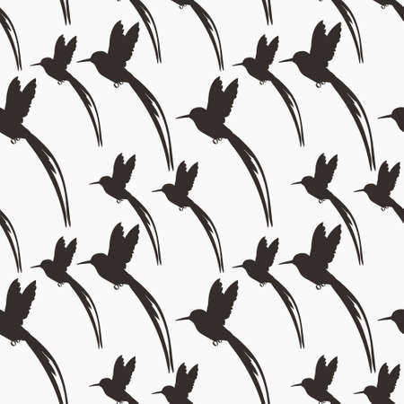 Seamless pattern with small flying birds of paradise hummingbirds. 向量圖像