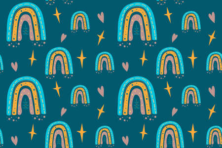 Seamless childish pattern with trendy rainbows. Creative scandinavian kids texture for fabric, wrapping, textile, wallpaper, childish apparel. Vector illustration.