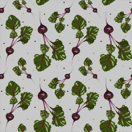 Seamless vector pattern with beets. Gray background. Design for printing menu, recipe, flyer, postcard, fabric, wrapping paper. 向量圖像