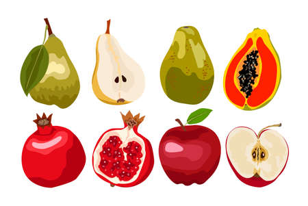Fresh fruits vector collection. Set of sweet fruits for health. Design for greeting card, recipe, menu, poster.