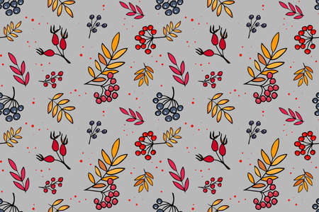 Vector seamless pattern with branches of blueberries and rowan on gray background. Hand drawn repeated background for textile, wrapping paper, greeting card and invitation of seasonal fall holidays. 向量圖像