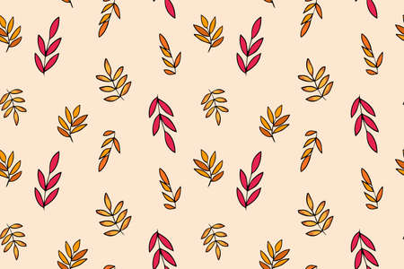 Seamless pattern with colorful autumn rowan leaves in orange, beige, brown colors. Perfect for Wallpaper, gift paper. 向量圖像