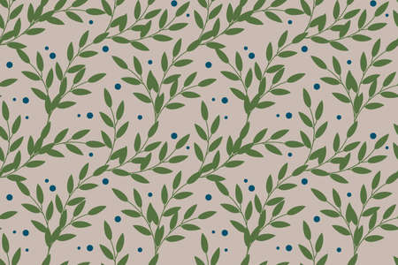 Vector floral seamless pattern in natural farmhouse style with cute simple branches, berries, leaves. 向量圖像