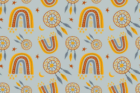 Seamless childish pattern with trendy rainbows and dream catchers. Creative scandinavian kids texture for fabric, wrapping, textile, wallpaper, childish apparel. Vector illustration.