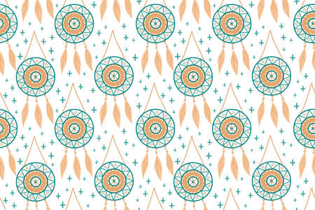 Seamless pattern with magic dream catchers with beads, feathers on a white background. Vector illustration, retro pattern, ethnic doodle collection, tribal design.