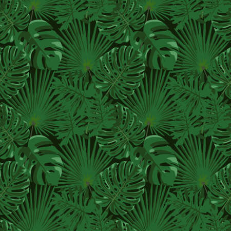 Tropical leaf design with a green palm and monstera plant leaves on a black background. Seamless vector repeating pattern. 向量圖像
