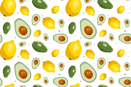 Vector seamless pattern with avocado and lemon.