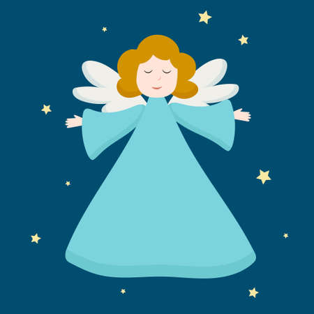 Christmas cute angel. Blue angel figure isolated on dark blue background. Portrait view of flying angelic character in blue clothes, kid with wings. Vector design for greeting cards and invitations. 向量圖像