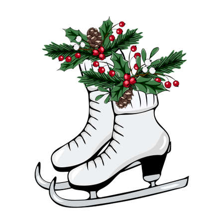 Christmas vector illustration. Skates with red and white berries, fir cones, fir branches, bow. Beautiful design for printing greeting card, invitation, poster, tag, label, gift decoration. 向量圖像