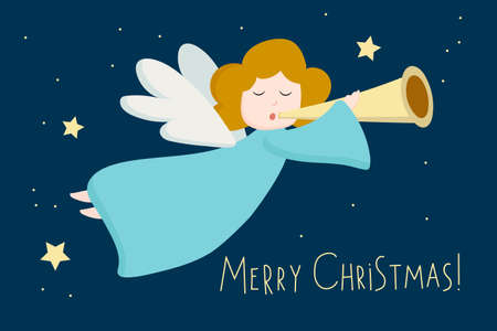 Christmas angel with wings on a background of starry sky flies and plays the trumpet. Greeting card decorated flying Christmas angel. Merry Christmas text. Great for posters, greeting cards. 向量圖像