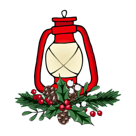 Christmas vector illustration. Lamp with red and white berries, fir cones, fir branches. Beautiful design for printing greeting card, invitation, poster, tag, label, gift decoration.
