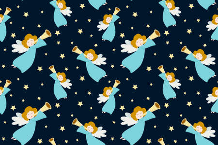 Vector seamless pattern with flying angels in blue clothes and golden hair with a pipe on a dark background. Design for postcard, poster, wrapping paper, gift.