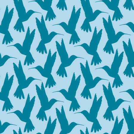 Seamless pattern with small flying birds of paradise hummingbirds on a blue background. Design for fabric, clothing, bedding, wrapping paper. 向量圖像
