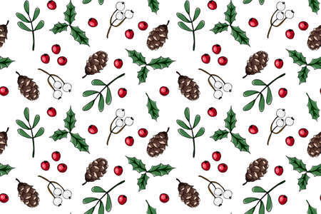 Merry Christmas, Happy New Year seamless pattern with fir cone, holly leaves and berries for greeting cards, wrapping papers. Seamless winter pattern. Vector illustration. 向量圖像