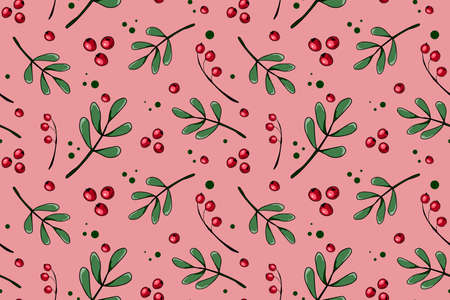 Botanical seamless vector pattern with red berries and green branches mistletoe. Holidays seamless pattern. Perfect for greeting cards, wallpaper, gift paper, web page background, winter decorations. 向量圖像
