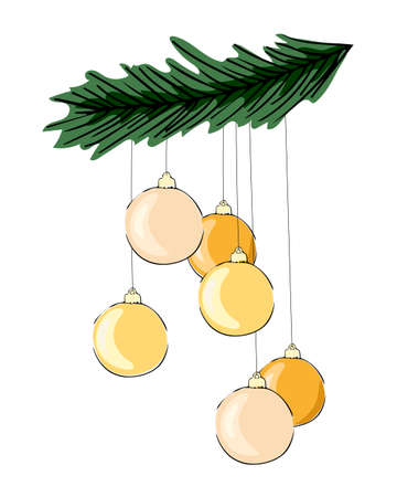 Realistic design with fir tree branches and festive golden balls. On white background. Vector illustration Merry Christmas greeting card.