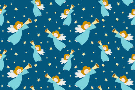 Vector seamless pattern with flying angels in blue clothes and golden hair with a pipe on a blue background. Design for postcard, poster, wrapping paper, gift.