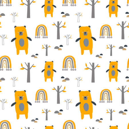 Cute seamless pattern with bears in forest. Scandinavian style background. Creative kids texture for fabric, wrapping, textile, wallpaper, apparel. Vector illustration for kids design.