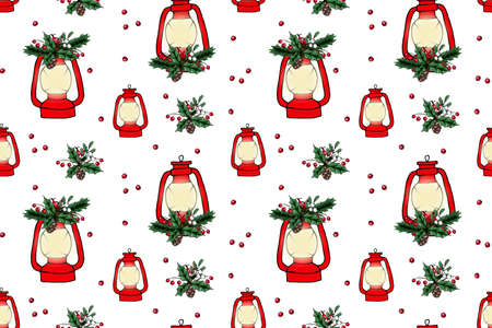 Seamless pattern of Christmas lantern. Hand drawn illustration. Design for greeting cards, wrapping papers. Seamless winter pattern. Vector illustration.