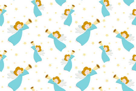Vector seamless pattern with flying angels in blue clothes and golden hair with a pipe on a white background. Design for postcard, poster, wrapping paper, gift. 向量圖像