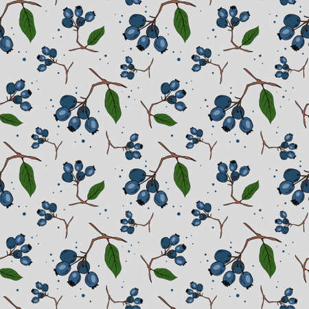 Seamless pattern with branches of blueberries on white background. Perfect for wallpaper, wrapping paper, textile. Vector illustration.