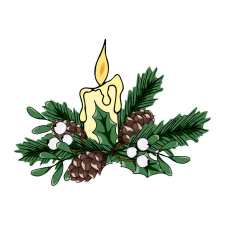 Christmas vector illustration. Composition with white berries, fir cones, fir branches and candle. Beautiful design for printing greeting card, invitation, poster, tag, label, gift decoration.
