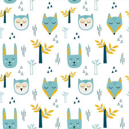 Vector childish seamless pattern with forest animals in Scandinavian style on a white background. 向量圖像