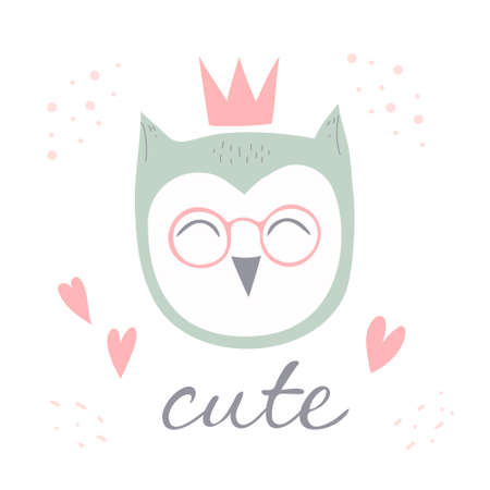 Owl bird with glasses vector illustration in flat style. Design for children, print on fabric and t-shirt, greeting card, poster.