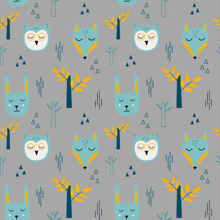 Vector childish seamless pattern with forest animals in Scandinavian style on a gray background.