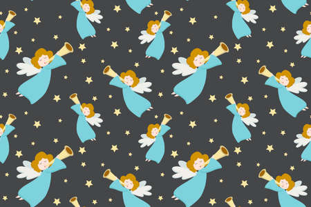 Vector seamless pattern with flying angels in blue clothes and golden hair with a pipe on a gray background.
