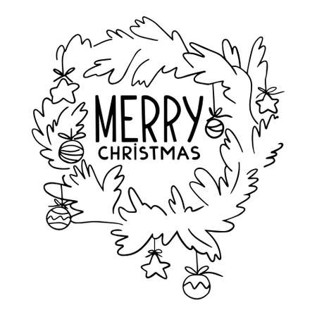 Vector doodle illustration of wreath with christmas decorations isolated on white background. Greeting card Merry Christmas template with hand drawn doodle cartoon wreath. 向量圖像