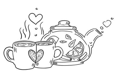 Teapot and cup with steam standing on table. Stylized card in sketch style. Hand drawn doodle sketching, for cozy decoration projects, World Tea Day illustration. Vector illustration.