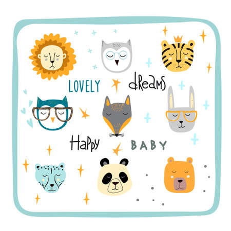 Set of cute animal faces. Creative animal print owl, cheetah and rainbow, lettering dreams. Vector Illustration for scandinavian design card, print on clothes.